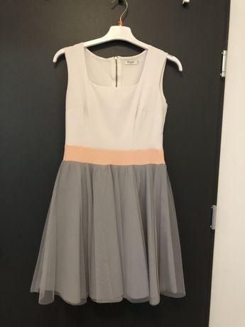 Sukienka tiulowa biało-szara roz. 36