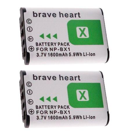 Conjunto de 2 baterias Brave Heart NP-BX1, 1600 mA, para câmeras Sony