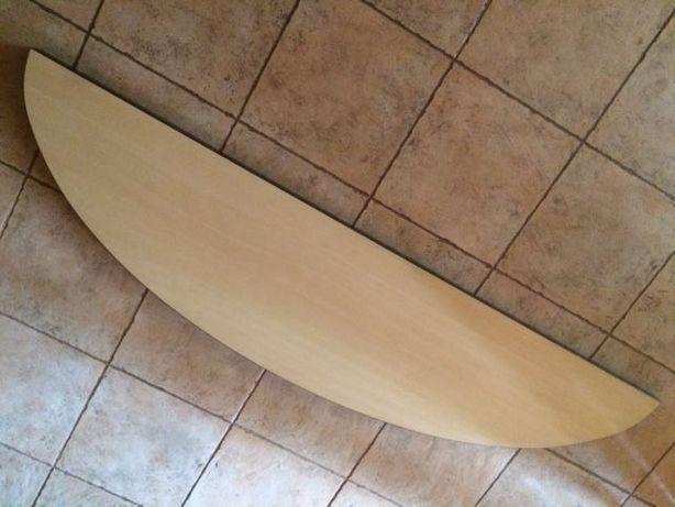 Tampo de mesa semi-oval de encosto à parede em madeira de bétula