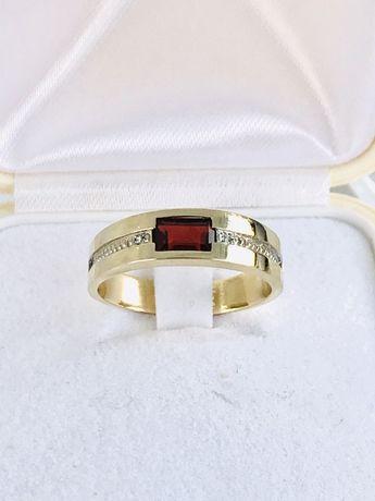 Złoty pierścionek R-17 granat i diamenty