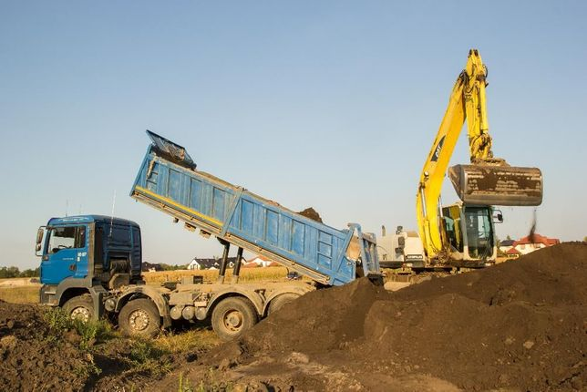 Transport 18-25 ton, koparka, ładowarka, ziemia, piasek, żwir, humus