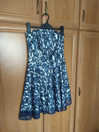 Sukienka rozkloszowana bez ramiączek granatowa biała błyszcząca 36 S