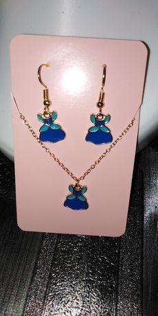 Zestaw biżuterii kolczyki łańcuszek sukienka Disney Kopciuszek