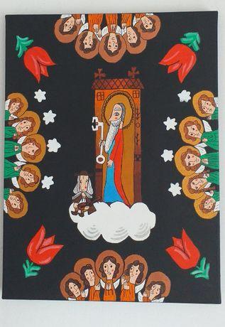 Święty Piotr u Nieba Bram.Obraz ludowy.Akryl.