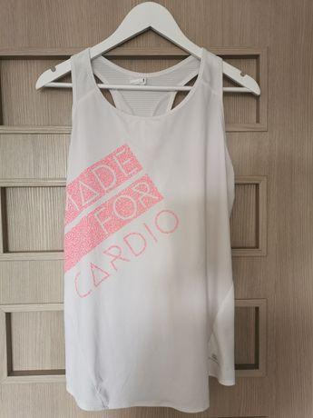 Biała bluzka na fitness, rozmiar L