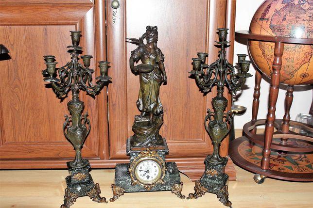 Wielki zegar figuralny z kandelabrami Francja XIX w