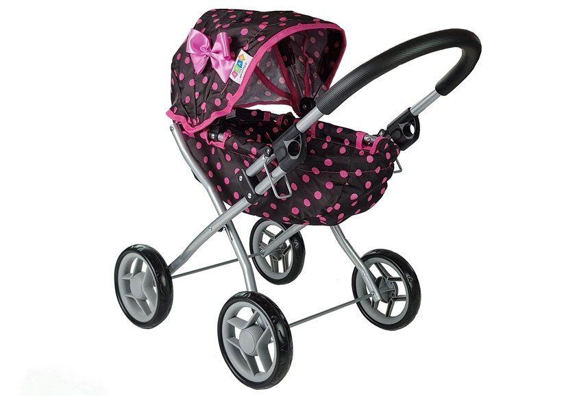 Wózek dla lalek Alice czarny w różowe groszki 5250 Zawiercie - image 1