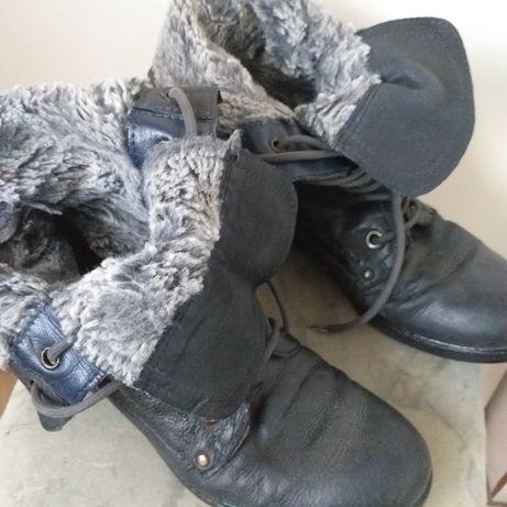 Trapery z futerkiem buty skórzane z korzuszkiem