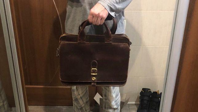 """Кожаный портфель 15.6"""" сумка оригинальная коровья кожа"""