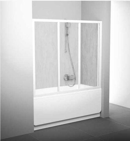 Новая! Шторка раздвижная Двери для ванны Ravak AVDP3-150 белый+rain