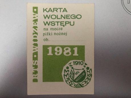 Bilet karnet Widzew 1981