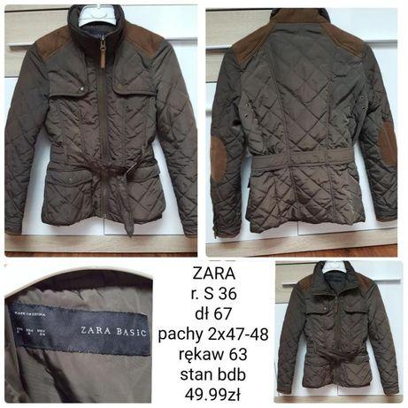 Zielona khaki kurtka pikowana ZARA zimowa jesienna