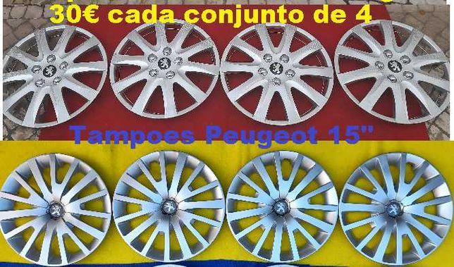 Tampoes roda 15 Peugeot 308, 208 Partener 206, 207 etc Jantes ferro 15