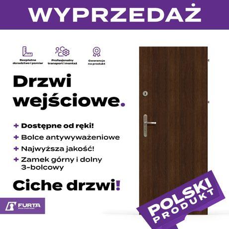 Solidne ciche drzwi wejściowe drzwi zewnętrzne gładkie OKAZJA!