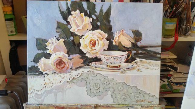 """Quadro """"Natureza-morta com rosas"""" óleo sobre tela, dimensões 45x35 cm."""