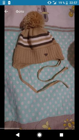Детская шапка Gabbi теплая с бубоном бежевая зимняя 3-6мес