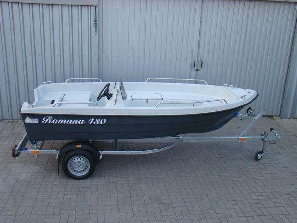 łódka motorówka Romana 430 z kierownicą, relingi,7schowków, WYSOKA, CE