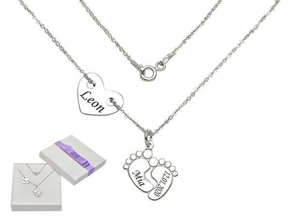 925 Srebrny naszyjnik stópki dziecka i serce ukochanego + grawer