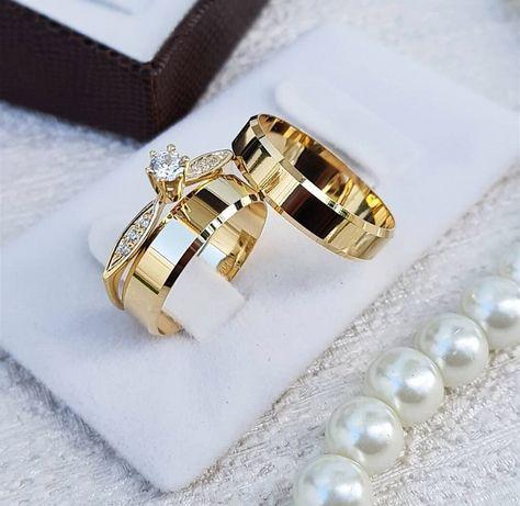 Wspaniała Piękna Para Złotych Obrączek Ślubnych