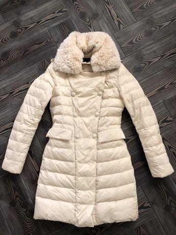 Фирменный натуральный пуховик Elisabetta Franchi пальто зимнее куртка