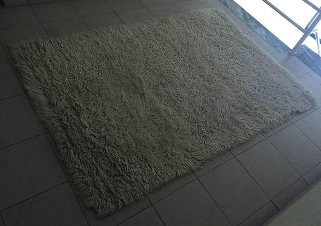 Carpete tapete lã grossa pelo comprido em beje