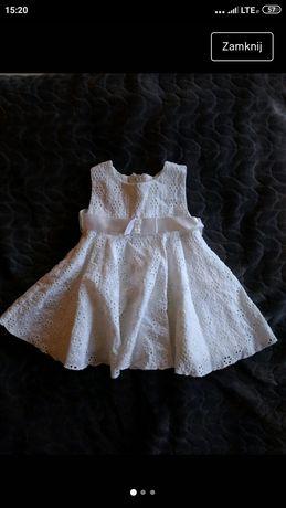 Biała sukienka na chrzest święta bawełniana bawełna 62 68