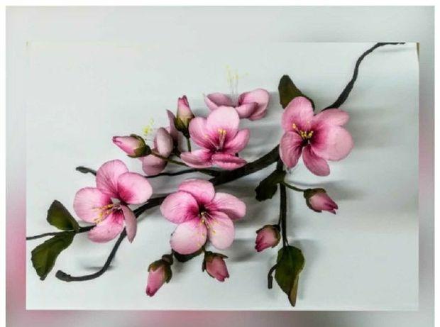 Gałąź WIŚNI kwiaty cukrowe na TORT