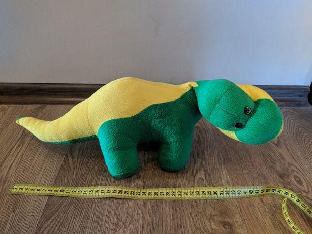 Мягкая игрушка динозавр, желто-зеленого цвета, б/у
