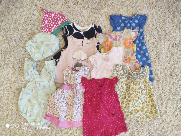 Пакет летних вещей для девочки 3-6 месяцев