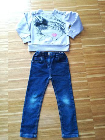 Bluza i spodnie jeansy 4-5 lat dla dziewczynki