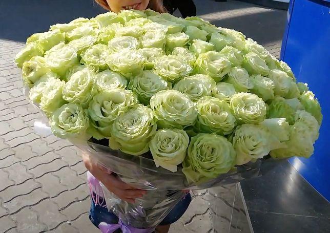 Доставка Цветов, Букет 101 Белая роза Эквадор MONDIAL, ТОП ЦЕНА! ОПТ!