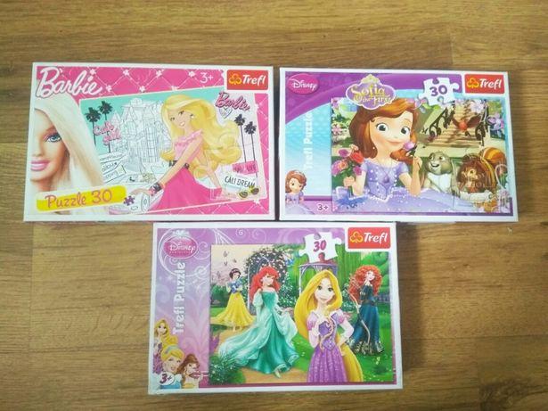 Puzzle Trefl jak NOWE, 30 elementów, księżniczka Zosia, Barbie, inne