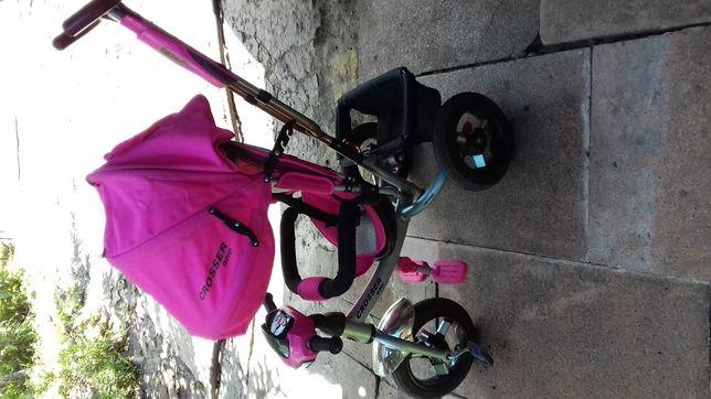 Трёхколёсный велосипед-коляска CROSSER T-1. Розовый для девочки.