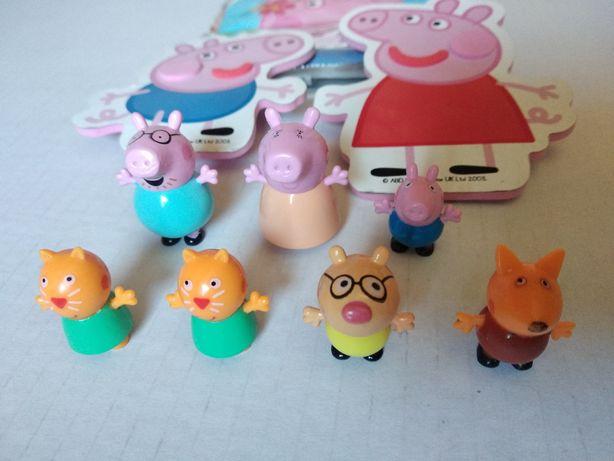 Figurki Świnka Peppa i George - zadbane org. zabawki + GRATIS pacynki