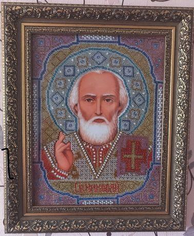 Вишита бісером картина Св.Миколая.Велика