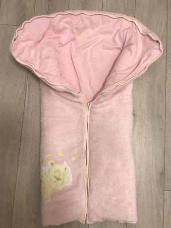 Конверт- одеяло теплое на выписку для новорожденного, как новое