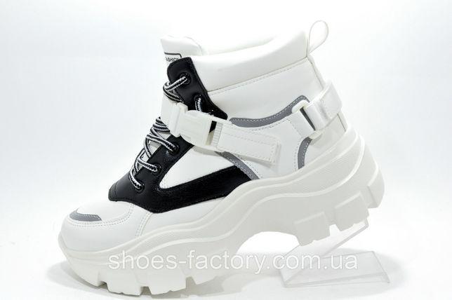 Женские зимние кроссовки на высокой подошве Stilli, Белый/Чёрный