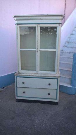 Movel Cristaleira Aparador antigo Raro Azul Branco decoração + 80 anos