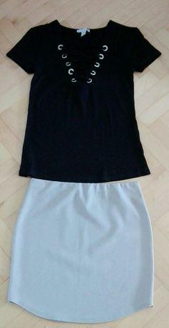 Zestaw S 36 Amisu spódniczka beżowa bluzeczka czarna
