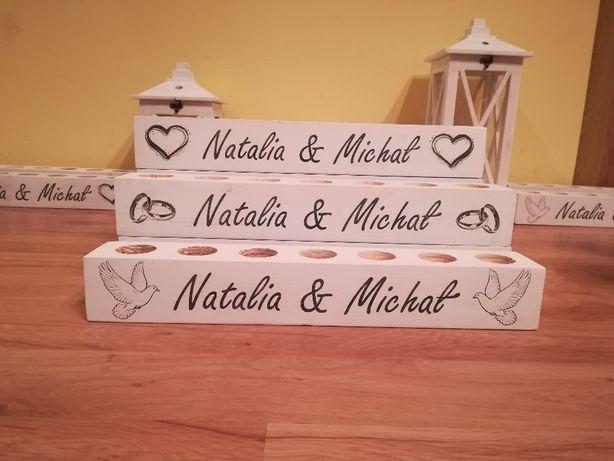 Drewniane świeczniki spersonalizowane Świeczniki na stół weselny