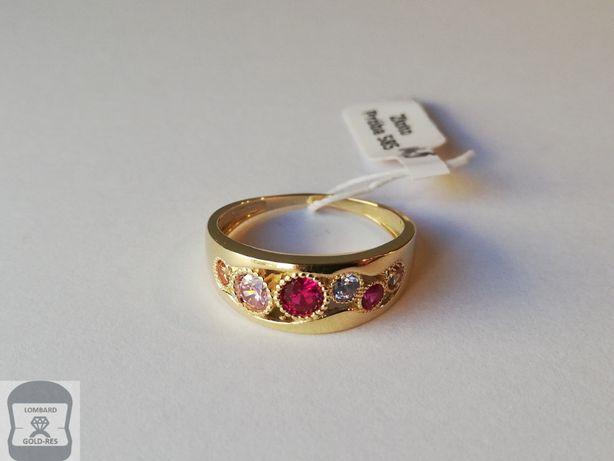 NOWY złoty pierścionek pr. 585 - cyrkonie