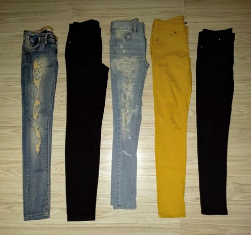 Spodnie xs /s rurki ,dziury ,czarne
