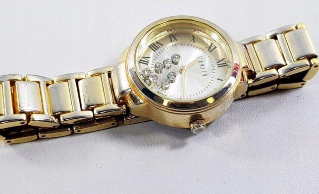 Damski złoty zegarek naręczny Mohito z cyrkoniami kryształkami