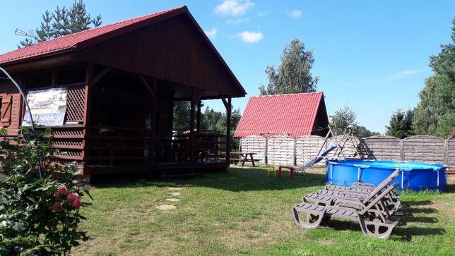 Drewniany całoroczny domek z kominkiem nad jeziorem przy lesie Kaszuby