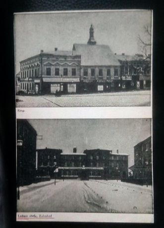 Loben Lubliniec pocztówka - rynek, dworzec