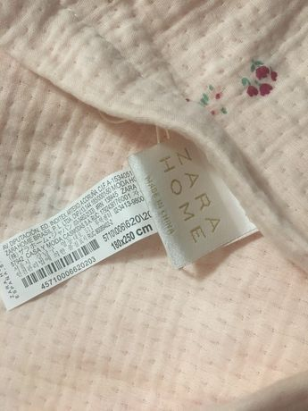 Zara home покрывало нежно-розовое 100% хлопок. Новое!!!