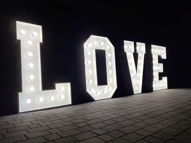 Podświetlany napis LOVE | NAJWIĘKSZY w OKOLICY ok. 1,5m