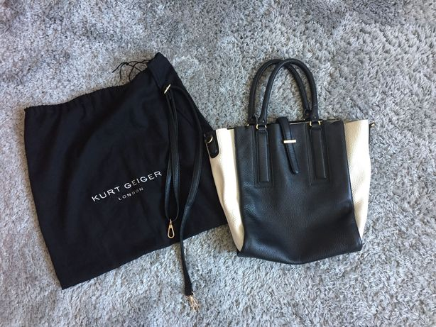 Oryginalna torebka Kurt Geiger London 100% skóra czarno-biała