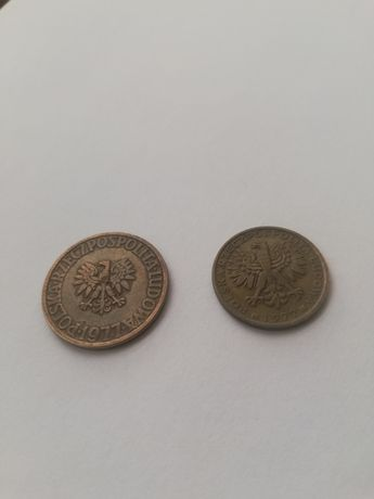 Moneta 2 zł i 5 zł z destruktem menniczym z 1977 roku.