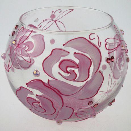 Ваза круглая стеклянная для цветов декора /Шар/ Аквариум ручная работа